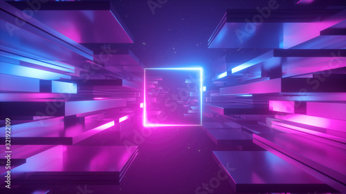 Fotomural 3d render, abstract futuristic background, blue pink neon light, ultraviolet glowing line, blank square frame, copy space, cosmos