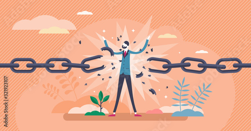 Break free concept,flat tiny person vector illustration