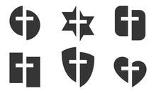 Set Of Black Christian Symbols...