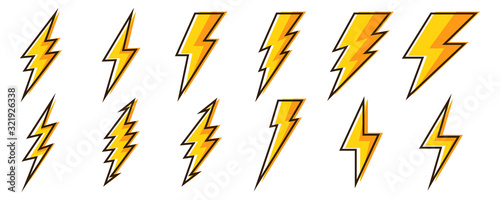 Cuadros en Lienzo Lightning icons - vector.