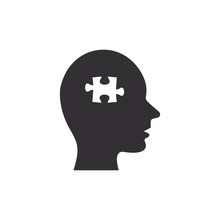 Head With Puzzle Piece Icon. Vector Isolated Flat Design Illustration