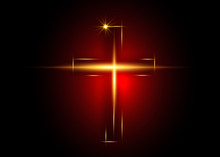 Cross Of Light, Shiny Cross With Golden Frame Symbol Of Christianity. Symbol Of Hope And Faith. Vector Illustration Isolated On Dark Red  Background