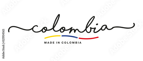 Stampa su Tela Made in Colombia handwritten calligraphic lettering logo sticker flag ribbon ban