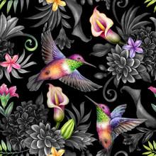 Digital Watercolor Botanical Illustration, Seamless Floral Pattern, Wild Tropical Flowers, Humming Birds, Black Background. Paradise Garden Night. Palm Leaves, Hydrangea, Gerber, Calla Lily, Plumeria