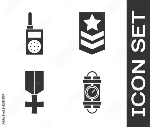 Valokuvatapetti Set Detonate dynamite bomb stick and timer clock, Walkie talkie , Military reward medal  and Chevron  icon