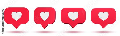 Fotografia, Obraz Set social media like, comment 3d cartoon illustration, rating, followers feedba