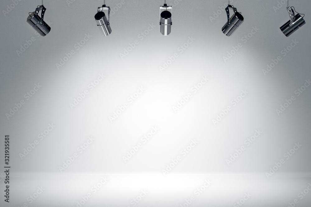 Fototapeta Illuminated white stage with spotlight