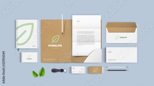 Realistic corporate branding mockup set. Identity with eco natural green logo and cardboard background. Modern style for presentation your company. Pure life logo with leaf sign.