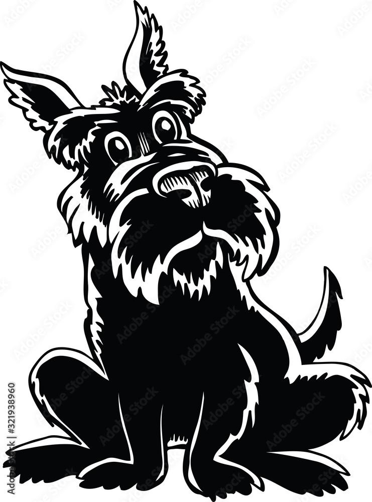 Fototapeta Scottish Terrier Cartoon Vector Illustration