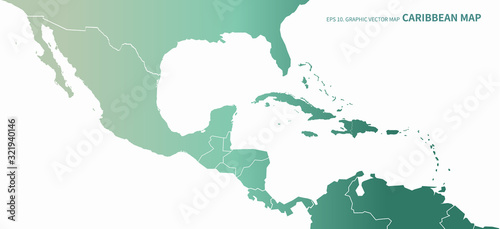 graphic vector of caribbean countries  map Canvas Print