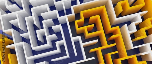 Diseño tridimensional de laberinto Canvas Print