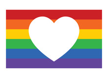 Gay Pride Rainbow Flag With Heart / Love Flat Vector Icon For Apps And Websites