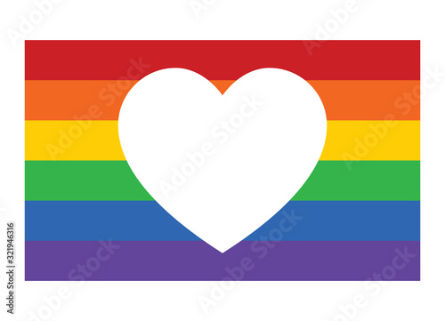 Fotomural Gay pride rainbow flag with heart / love flat vector icon for apps and websites