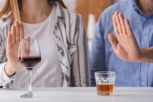 Couple Refusing To Drink Wine ...