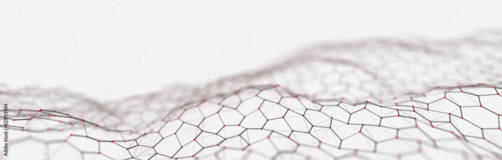 Fototapeta Futuristic white hexagon background. Futuristic honeycomb concept. Wave of particles. 3D rendering.