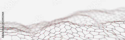 Futuristic white hexagon background. Futuristic honeycomb concept. Wave of particles. 3D rendering.