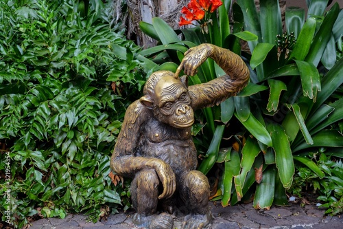 Beautiful shot of a monkey statue in loro park zoo in spain Canvas Print