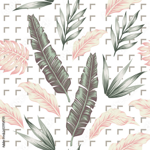 Pastel color leaves seamless pattern white background medium gray corners