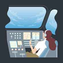 Female Pilot In Aircraft Cockpit