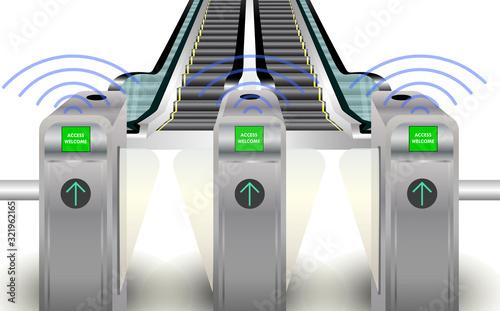 Obraz RFID barrier gate to escalator - fototapety do salonu