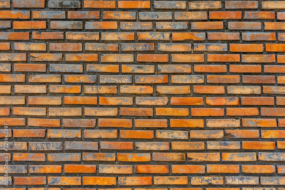 Old red bricks wall texture and background.