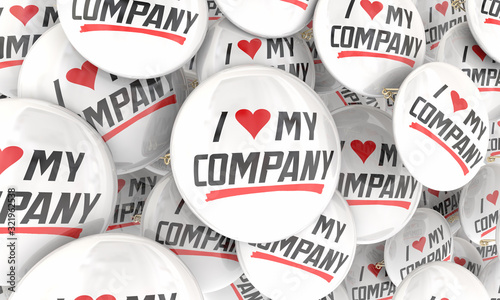 I Love My Company Business Pride Proud Worker Job Satisfaction 3d Illustration Canvas Print