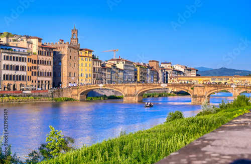 A view of the Arno River towards the Ponte Vecchio in Florence, Italy Wallpaper Mural