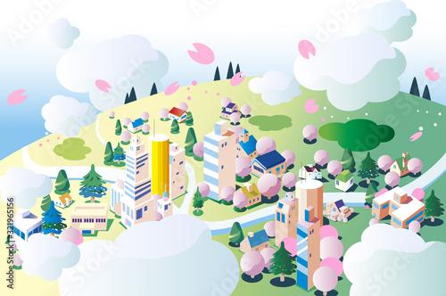 空から見た春の街並み - 321965156