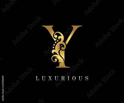 Golden Y Luxury Logo Icon, Vintage Floral Gold Z Letter Logo Design. Wall mural