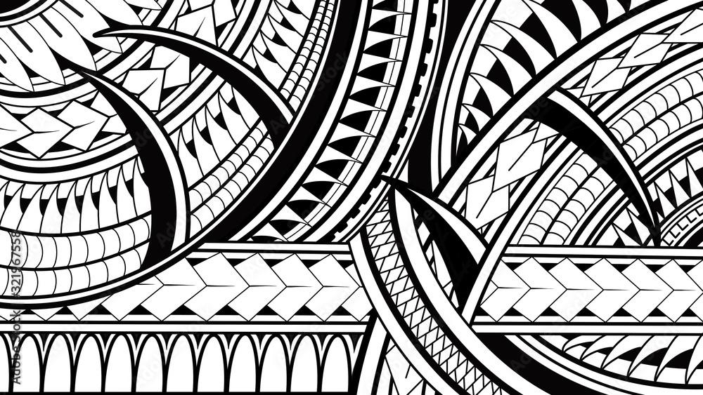 Fototapeta Maori Polynesian pattern illustrations on white background.