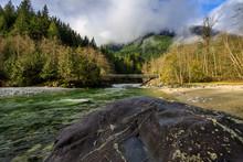 Bridge Crosses Flowing Creek, ...
