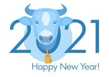 Happy 2021 New Year Banner. Blue Cow Head With Gold Bell On The Neck. Stock Vector Illustration.
