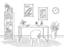 Home Office Graphic Black White Interior Sketch Illustration Vector