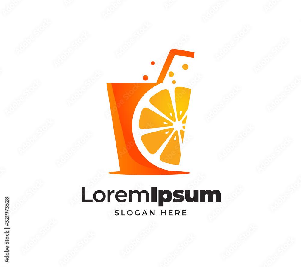 Fototapeta fresh orange juice logo template