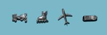 Banner 4 Metal Action Figures Toys Types Of Transport: Car Racing Car, Roller Skates, Airplane, Skateboard. A False Transport. Flatlay, Top View, Layout