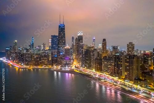 Fototapety, obrazy: Chicago downtown buildings aerial skyline