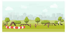 Agility Track In City Park Flat Illustration. Dog Playground Vector. Woman Training Dog In Public Park. Training Equipment: Barriers, Swing, Tunnel, Slalom.