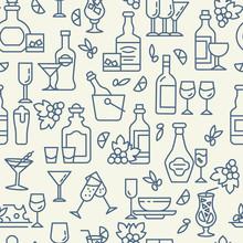 Bar Menu Icons Pattern. Alcoho...