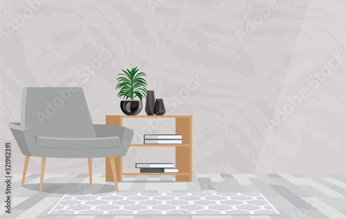 Photo Grey armchair next to wooden table with plant in flat interior with copy space on the wall