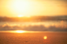 Tropical Beach With Smooth Wave And Sunset Sky Abstract Background.