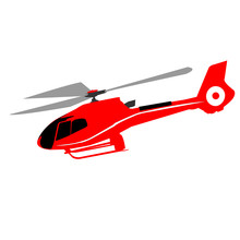 Red Helicopter Isolated On A White Background.
