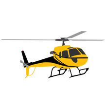 Yellow Helicopter Isolated On ...