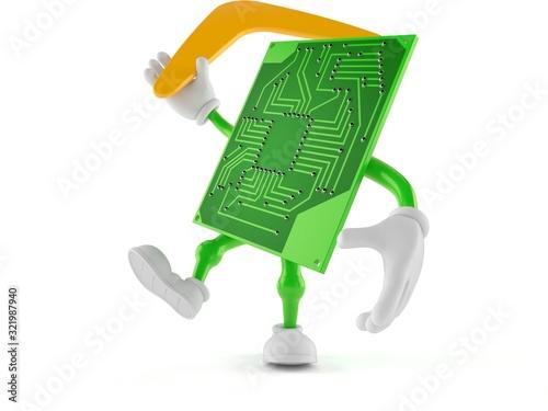 Circuit board character throwing boomerang Canvas Print