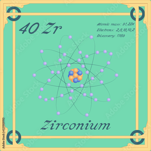 Fototapeta Periodic table element. Zirconium colorful icon. Vector.