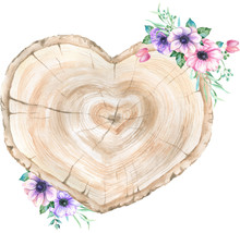 Watercolor Wooden Slice With Floral Decoration.