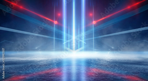 Photo Abstract dark background empty stage, blue neon light, rays of spotlights