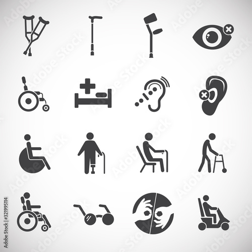 Obraz Human disabilities related icons set on background for graphic and web design. Creative illustration concept symbol for web or mobile app - fototapety do salonu