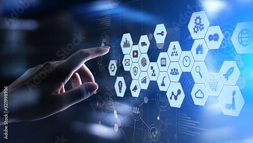 Cuadros en Lienzo Mixed media, Business intelligence icons on virtual screen, analysis big data processing dashboard