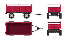 Isolated Tractor Trailer. Side...