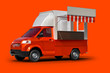 canvas print picture - 3d rendering realistic red food truck vehicle mockup for corporate brand identity design, on a red background with clipping paths.